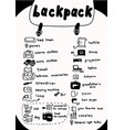 backpack contents icon set for travel warm vector image vector image