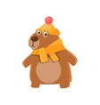 Bear Wearing Hat And Scarf vector image