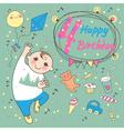 birthday little boy 4 years vector image
