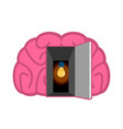 brain with light bulb open door concept of mind vector image