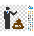 businessman show ipo shit icon with bonus vector image vector image