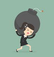 businesswoman carrying the bomb vector image vector image