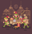 busy santa claus office elf workers carrying vector image