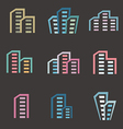 city buildings silhouette icons vector image vector image