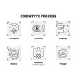 cognitive process icons collection vector image vector image