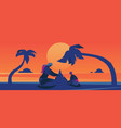concept with sunset scene with vector image