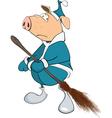 Cute Pig Yard Keeper Cartoon vector image vector image