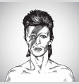 david bowie portrait drawing caricature vector image vector image