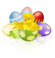 easter chick in egg vector image vector image