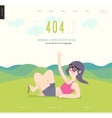 Error web page template - waving girl on green vector image vector image