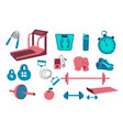 fitness equipment set collection sport tool vector image vector image