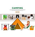 flat camping elements set vector image vector image