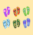 Flip flops set colorful beach wear men s and vector image