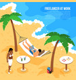 freelancer beach isometric composition vector image vector image