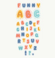 funny english alphabet colorful hand drawn abc vector image vector image