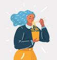 girl enjoying her ramen noodle with chopstick vector image