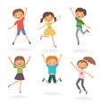 group children jumping vector image