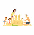 happy children on beach - cartoon people vector image vector image