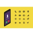 Isometric mobile phone template with interface and vector image