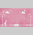 lonely girl walking through the snow on sidewalk vector image vector image