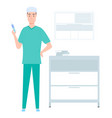 male nurse ready to make an injection vector image vector image