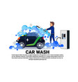 man washing car on service banner over copy space vector image