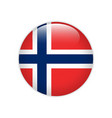 norway flag on button vector image vector image