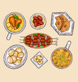 oriental cuisine dishes cartoon set vector image