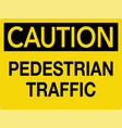 pedestrian caution traffic sign vector image