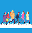 people in winter clothes cartoon man and woman vector image vector image