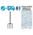 Pitchfork Icon with 1000 Medical Business vector image