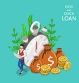 quick and easy loan isometric flat concept vector image vector image