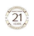 realistic twenty one years anniversary celebration vector image vector image
