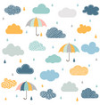 seamless pattern with clouds rain and umbrella vector image vector image