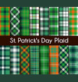 seamless patterns green st patrick day plaid vector image vector image