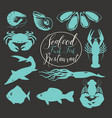 set of animal drawings on the theme of seafood vector image