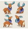 Set of cute cartoon hand drawn elks vector image vector image