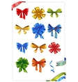 Set of gift bows with ribbons vector image vector image