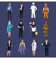 set workers team profession people uniform vector image vector image