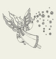 simple boho style angels fo coloring vector image vector image