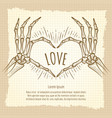 skeleton hands love sign vintage backdrop vector image vector image