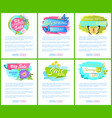 spring sale posters set discount color butterflies vector image vector image