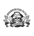Steampunk skull badge vector image vector image