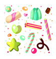 sweet cartoon candy set collection sweets vector image