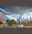 swirling tornado in city destroy buildings vector image vector image
