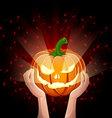 Two hands holding pumpkin halloween vector image vector image