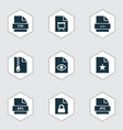 types icons set with organize folio code and vector image vector image