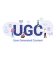 ugc user generated content concept with big word vector image vector image
