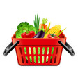 vegetables in supermarket basket isolated vector image vector image