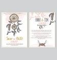 wedding invitation template in boho style vector image vector image